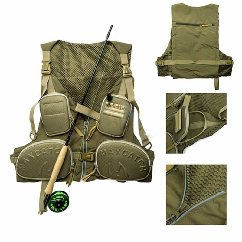 Multi-pocket Fly Fishing Backpack Chest Mesh Bag Vest Outdoor Adjustable One-size-fit-all Size