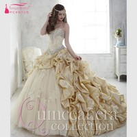 Gold Quinceanera Dresses Bling Bling Crystal vestidos de 15 anos Lace Up Sweet Dress hot Cheap coral quinceanera dresses