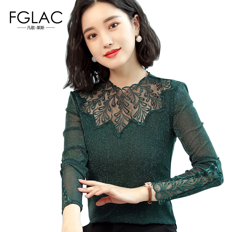 Women Mesh tops New 2018 Autumn long sleeve Sexy Hollow out lace shirt Elegant Slim Patchwork women blouse shirt