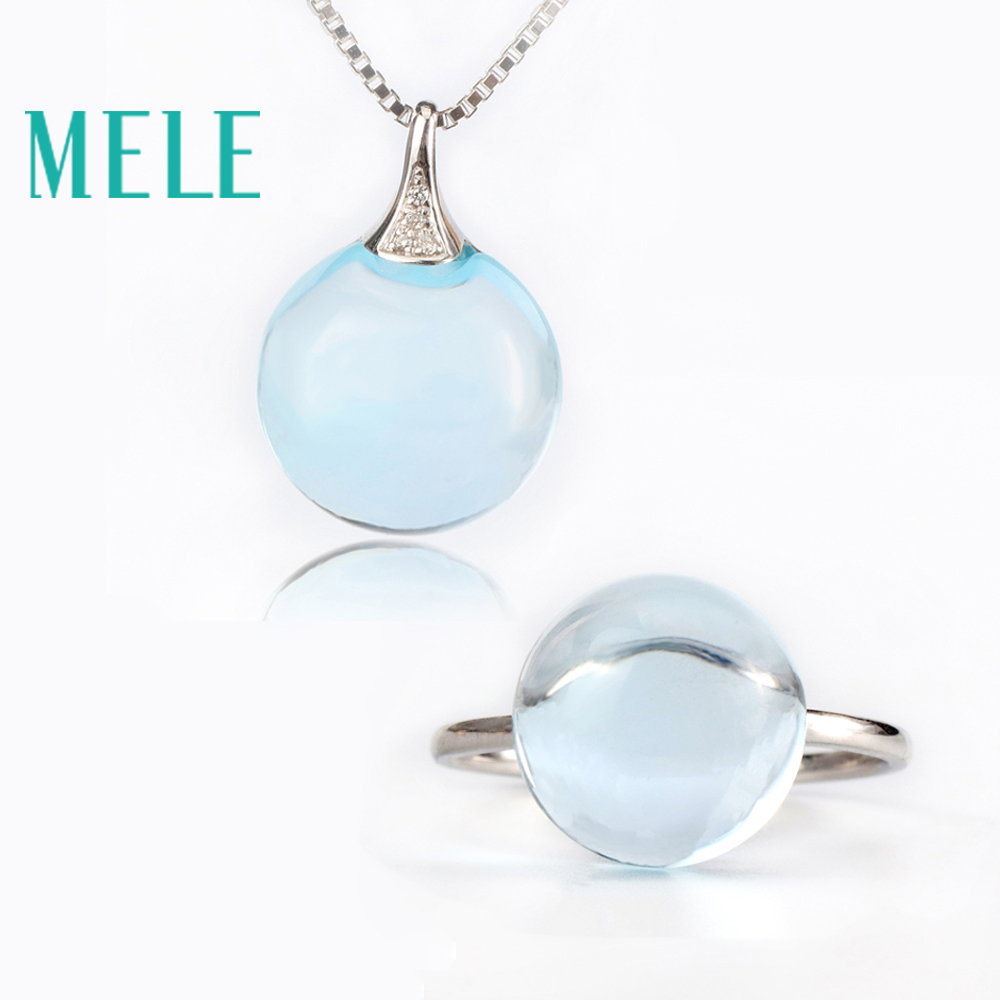 Real 18K gold natural topaz ring and pendant suit for women round cut big gemstone jewelry modern stylish stylish faux crystal round simple style ring for women