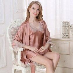 Satin Silk Sleeping Robes 100 silk dress Sleepwear Nightgowns Women Two-Piece Bathrobe Sets Lace Nightwear Free Shipping