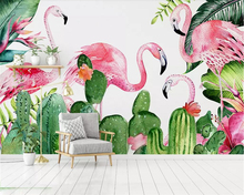 beibehang Custom wallpaper flamingo rainforest refreshing living room bedroom children's room TV mural 3d wallpaper background beibehang southeast asia tropical rainforest leaves background wallpaper living room bedroom tv background mural 3d wallpaper