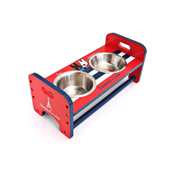 Brand New Pet Woodiness And Stainless Steel Double Bowls For Dog Pet Food Basin Lovely Design Wooden Table Dog Bowls With Stand image