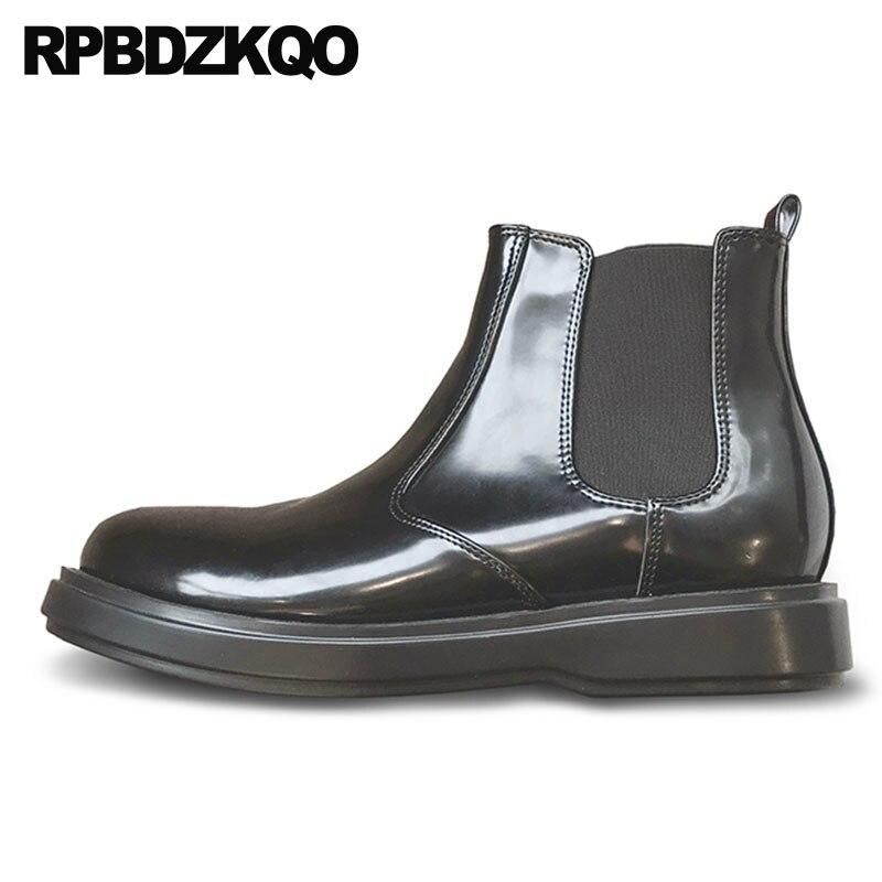 Chelsea chaud Designer hiver hommes bottes avec fourrure automne cuir verni Style britannique chaussures imperméables haut sans lacet noir cheville