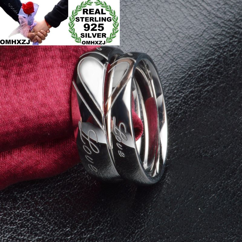 OMHXZJ Wholesale Personality Fashion OL Woman Girl Party Wedding Gift Silver Lovers 925 Sterling Silver Ring RN258
