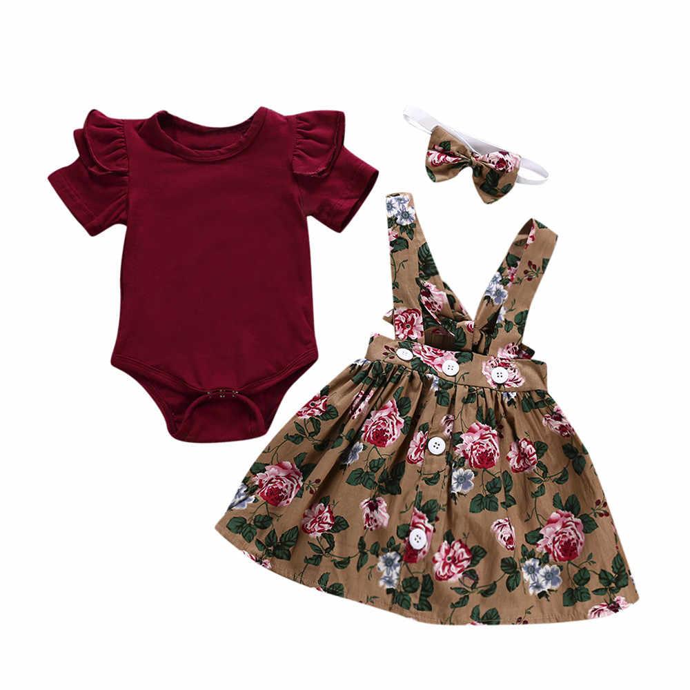 e9fafffa4 Ropa de bebé niña Telotuny chico ropa Casual conjunto 100% algodón 3 piezas  bebé niñas pequeñas chico s overol falda + diadema + pelele