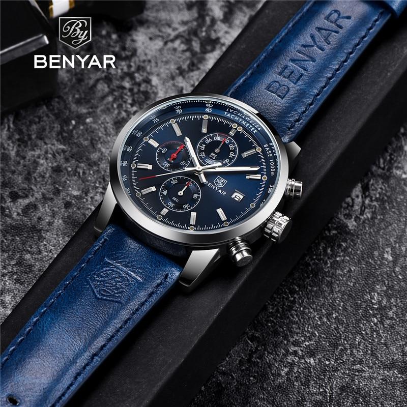 BENYAR Sport Men's Watches Top Brand Luxury Business Male Leather Chronograph Quartz Military Wrist Watch Men Clock Reloj Hombre