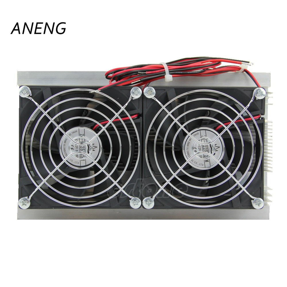 ANENG 1PC Thermoelectric Peltier Refrigeration Cooling System Kit Cooler Double Fan New new arrival thermoelectric peltier refrigeration cooling system kit cooler finished kit need 12vdc 6a power