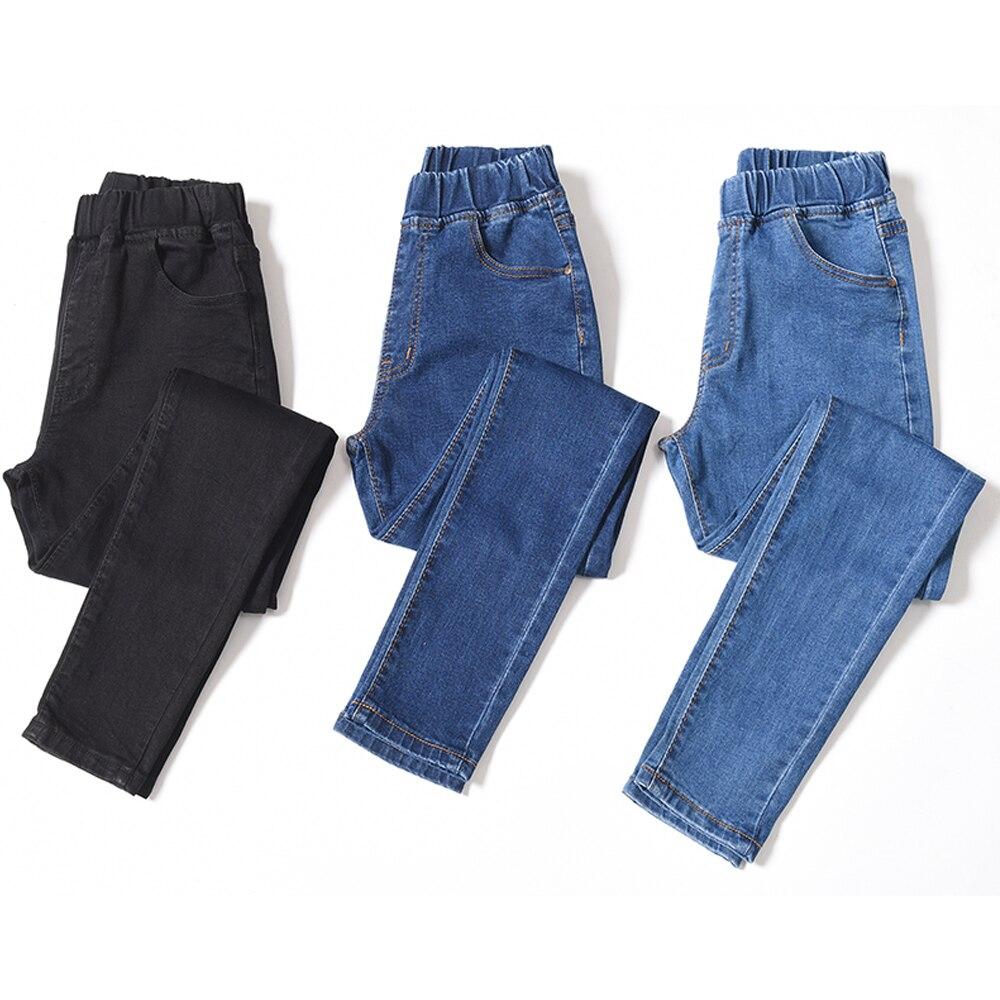Plus Size S-6XL Women Jeans High Stretch Elastic Waist Skinny Pencil Pants Washed Denim Pants Jeans Casual Trousers Leggings