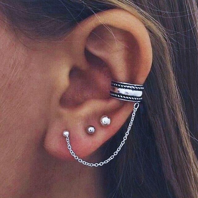 Zi New Arrival Vintage Maxi Brincos Elegant Statement Silver Chain Earrings Fashion Jewelry Ear Cuff Clip