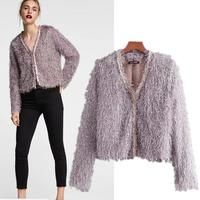 women autumn tassel decorate jacket coat pockets long sleeve wide waist short style coats jacket tops
