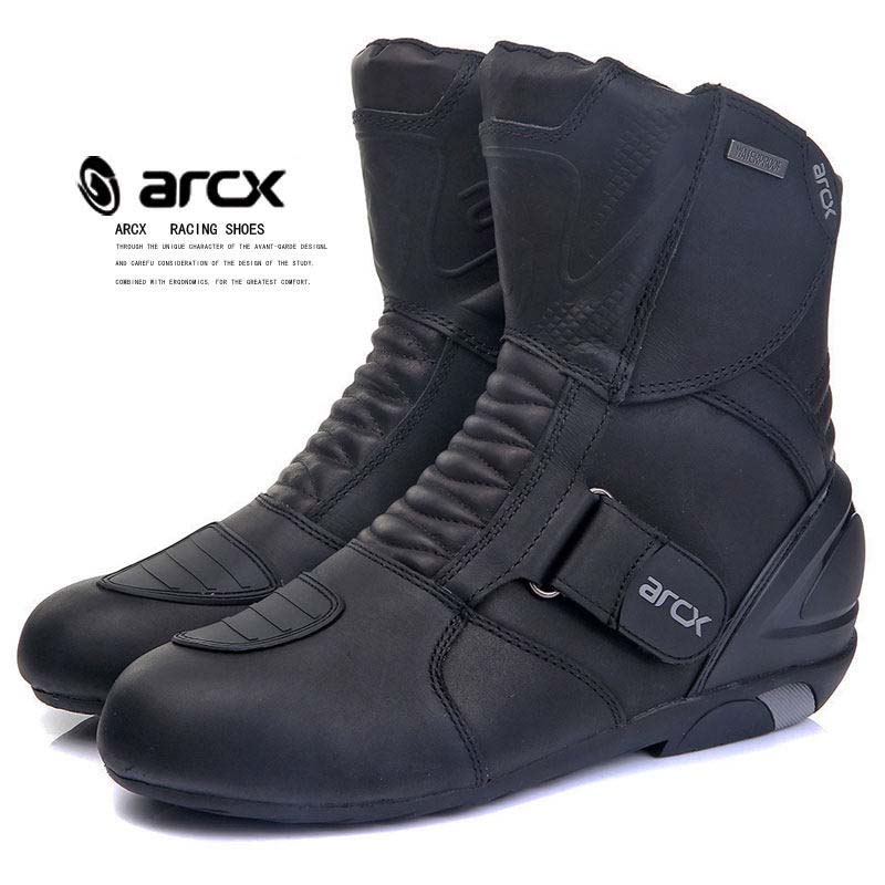 ARCX Motorbike Motorcycle Boots Real Leather Breathable Motocross Boots Waterproof Motor Bike Protector Gear Moto Shoes ...