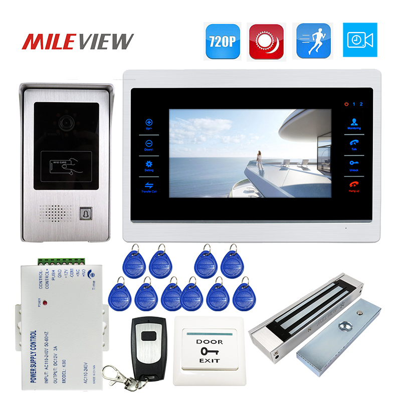 Free Ship 1.0MP 720P AHD 7 Touch Screen Video Door Phone Intercom Record Monitor Kit RFID Unlock Doorbell Camera Magnetic Lock the latest wifi magnetic lock ip65 rainproof video door phone outdoor monitor intercom atz dbv04p doorbell with 720p ip camera