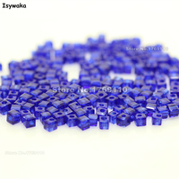 Isywaka 1980pcs Cube 2mm Deep Blue Color Square Austria Crystal Bead Glass Beads Loose Spacer Bead
