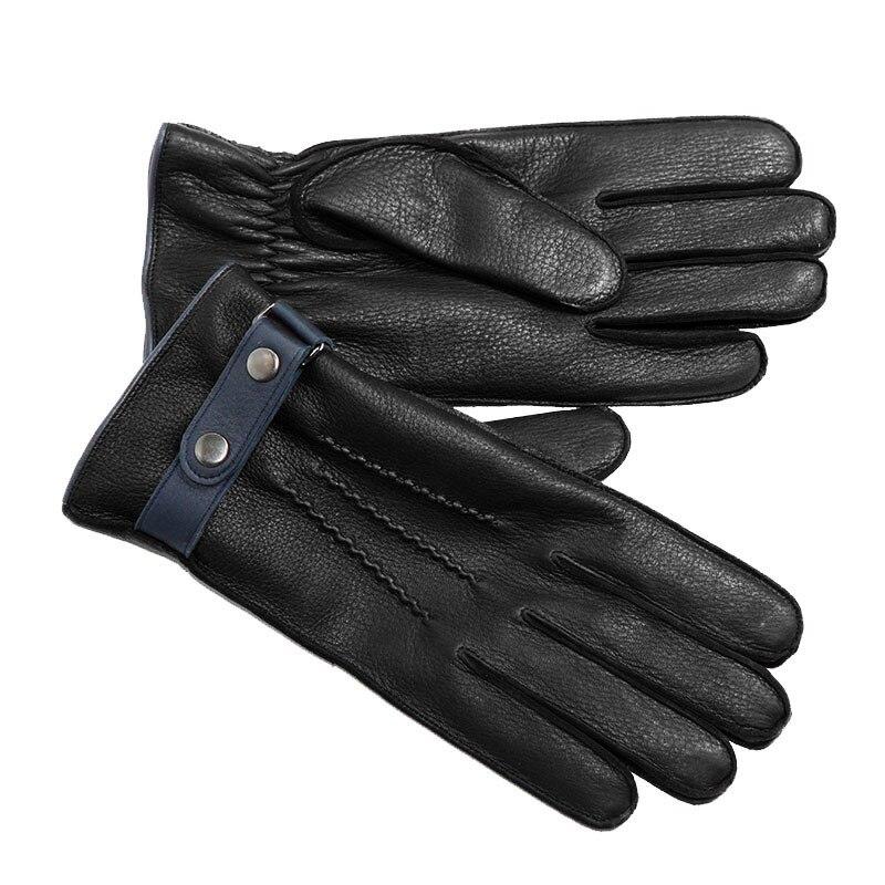Gants en cuir véritable homme beau complet couture extérieure gants en peau de daim Plus velours épaissir conduite homme cadeaux d'affaires DQ9117