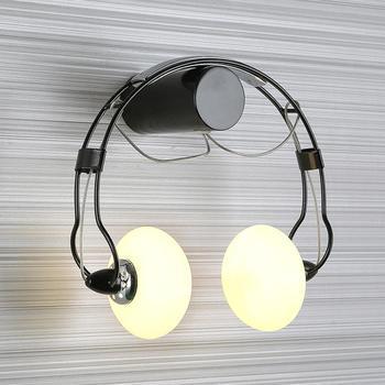 LED Wall Lights Creative Headphone Shape Wall Sconces Lighting Metal Headset Bedside Lamps Glass Wall Lamp Birthday Gifts 2×G4