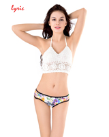 Lyric 2017 Hand Made Crochet Thong Bikini Set Tank Bra Swimsuit Women Swimming Suit Sexy Swimwear