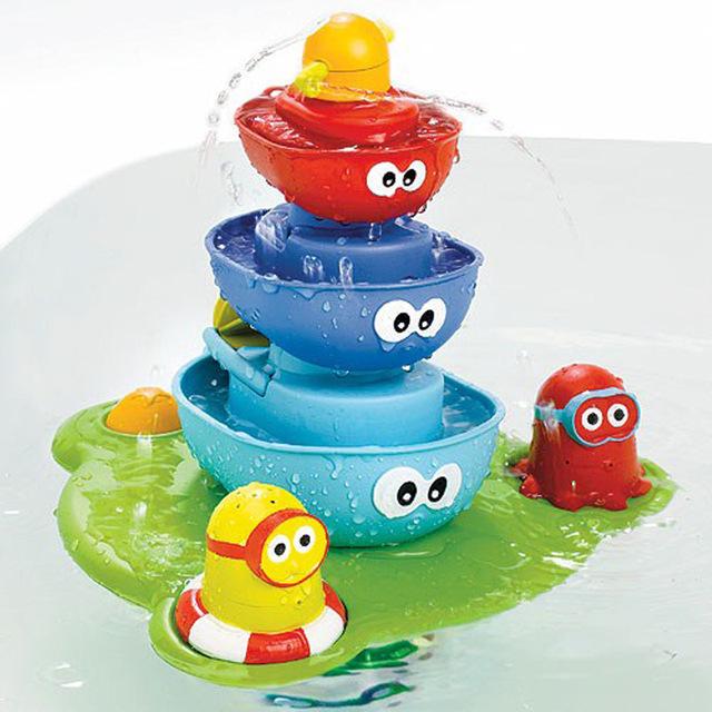 Fonte para o Banho Do Bebê Jogo Brinquedos Para Crianças de Água Torneiras Banheira Banheiro de Pulverização Octopus Pontão Fountain