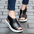 Sólido Balanço Plataforma Cunhas das Mulheres Sandálias Senhora Sapatos de Plataforma de Couro Genuíno Sandálias de Verão/Vermelho/Preto/Marrom Q1