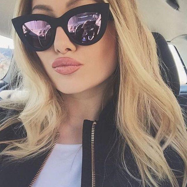 HTB1e21IRpXXXXbKXFXXq6xXFXXX5 - Women's cat eye sunglasses ladies Plastic Shades quay eyewear brand designer black pink sunglasses PTC 221