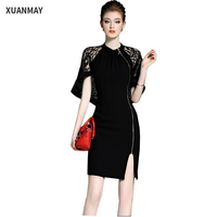 2017Fashion Summer Pink Lace Dress Sexy Ladies V Neck 3 4 Sleeve Black Long Style Dress