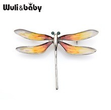Wuli&baby Classic Brown Enamel Dragonfly Insect Brooches Women Mens Party Brooch Pins Gifts