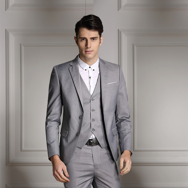 ( Suit jacket + vest + pants ) Men's premium brand pure color wedding dress groom suits / Male fashion boutique business suits