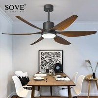 SOVE 66 Inch Modern LED Brown Ceiling Fans With Lights Large Amount Of Wind Living Room DC Ceiling Fan Lamp Remote Control