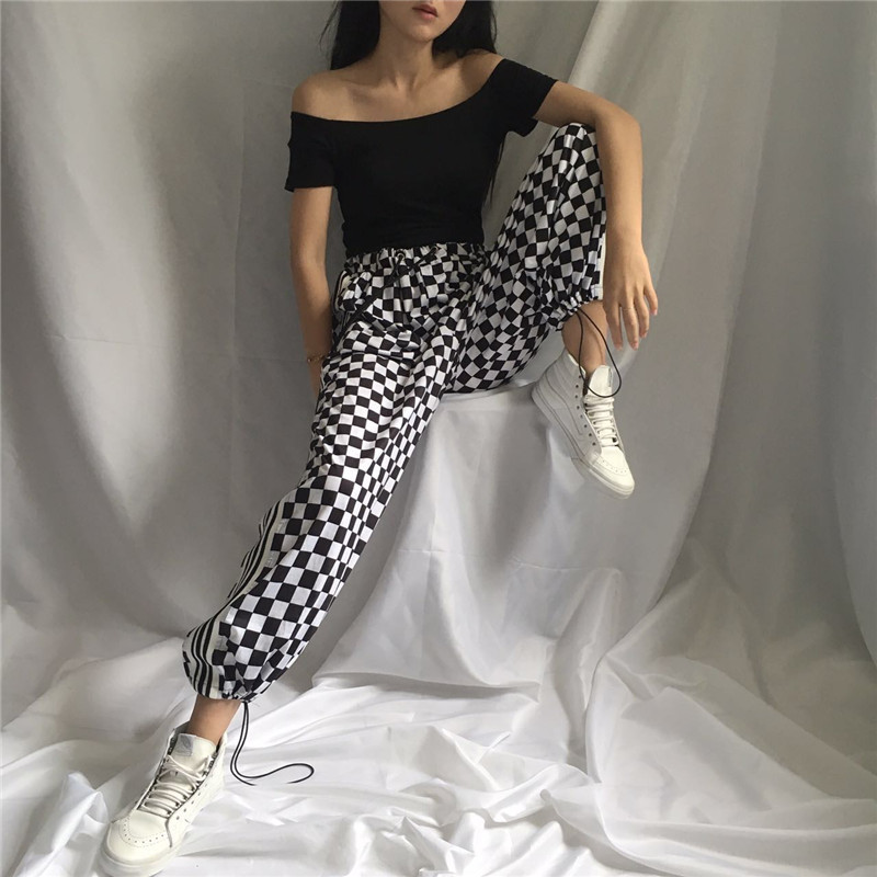 Women's Streetwear Harajuku Small Grid Tie Elasticity Waist Spliced Vertical Stripes   Wide     Leg     Pants   Ins Casual   Pants   For Women
