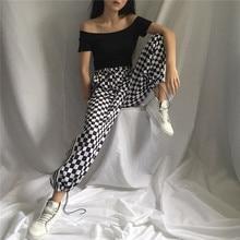 Women's Streetwear Harajuku Small Grid Tie Elasticity Waist