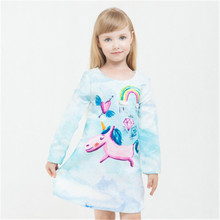 100pcs/lot DHL Girls dress Princess Dress Cartoon unicorn rainbow Pattern Print Long sleeve cotton zipper Girls winter clothing
