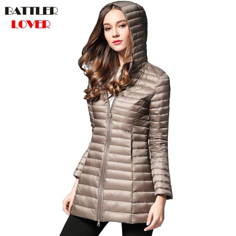 2018 Winter Women Ultra Light Down Jacket 90% Duck Down Hooded Long Jackets Long Sleeve Coat Womens Parka Female Portabl Outwear
