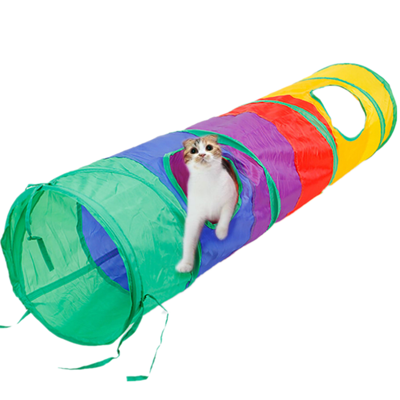 Multicolor Pet Cat Play Tunnel Foldable Cat Tunnel with Ball Kitten Cat Toys Bulk Cat Toys Rabbit Straight Play Tunnel noFB23