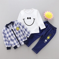 3pcs/Set Baby Boys Girls Clothing Set Child Fall Clothes For Children's Casual Smile Face Coat+Shirt+Pants 1 2 3 4 Years