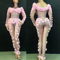 Three dimensional flowers Stretch Jumpsuit Rhinestones One Piece Bodysuit Costume Stage Outfit Singer Dancer Performance Rompers