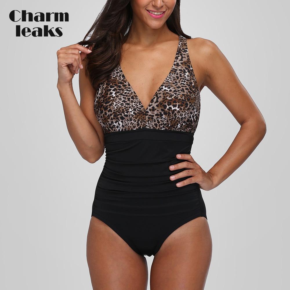 Charmleaks Women One-Piece High Waist Swimwear Leopard Print Swimsuit Sexy Bodysuit Halter Ruched Monokini Bikini