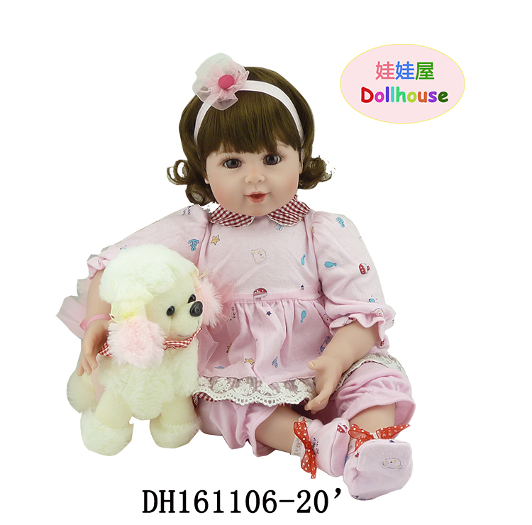22 Reborn Bonecas Brinquedo Dolls for Girls with Brown Eyes Brown Hair with Pink Soft Clothes