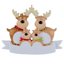 Reindeer Family Of 4 Resin Hanging Personalized Christmas ornaments As For Holiday or New Year Gifts Home Decoration