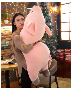 new style lovely pink prone pig plush toy huge 120cm soft cotton pig doll hugging pillow christmas gift b0010