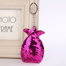 Cute Fruit Pendant Keychain Bling Mermaid Fish Scales Sequins Pineapple Keyring for Women Bag Key Chains Summer Jewelry
