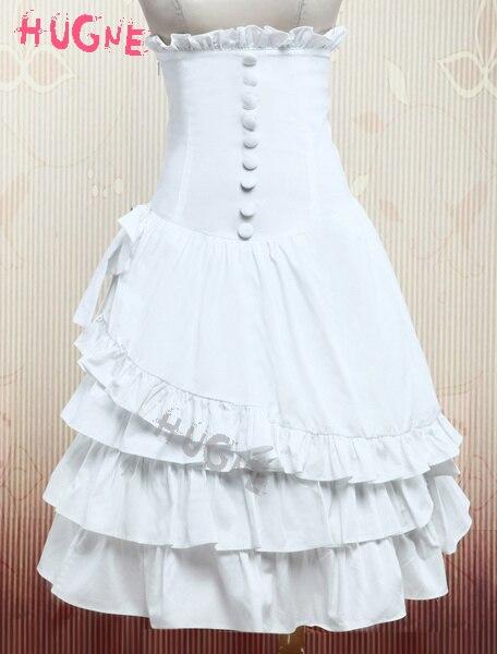 Jupe Lolita à volants en coton blanc taille haute