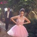 Rosa 3D Flor Vestido Curto do Baile de finalistas do Regresso A Casa Vestido de formatura-Meninas vestido de Luxo 2016 vestidos de regresso a casa vestido de formatura Z136