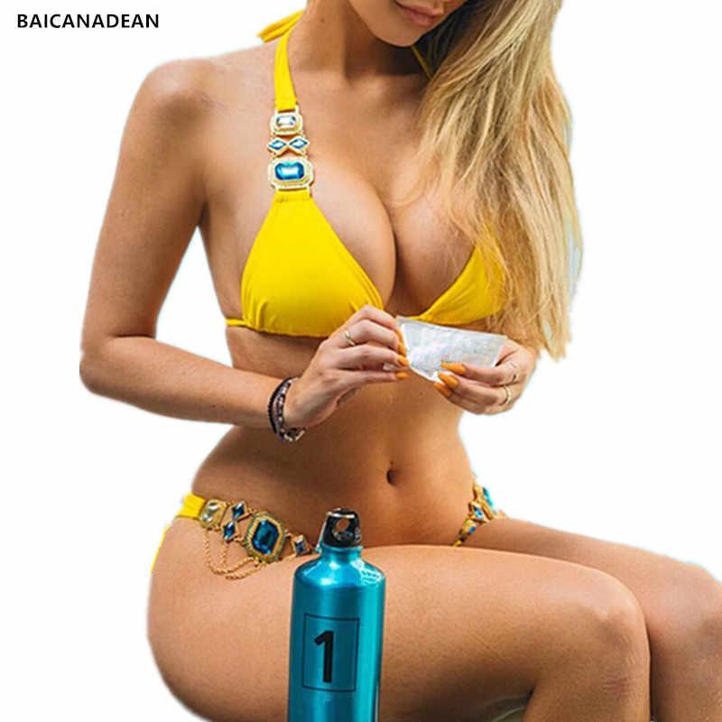 BAICANADEAN абсолютно новый купальник женский купальник Алмазный бикини  2019 два предмета купальник женский бикини набор Maillot e7da3a648d1