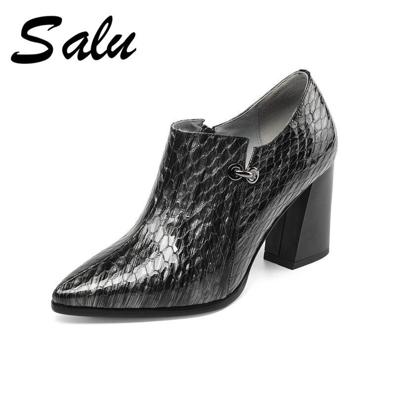Salu nowy przyjeżdża prawdziwej skóry damskie buty wysokie obcasy pompy myślę, że obcasy buty ślubne modne buty kobieta wysokie obcasy buty damskie w Buty damskie na słupku od Buty na  Grupa 1
