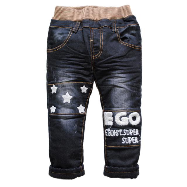 6227 bebé del invierno jeans denim + fleece añadir caliente de dos pisos negro pantalones niños pantalones niños y niñas de moda nueva