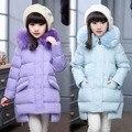 Зимняя Мода девушки Вниз куртки/пальто девочка зимние Пальто толщиной утка Теплая куртка Детей Outerwears для-30 градусов куртки