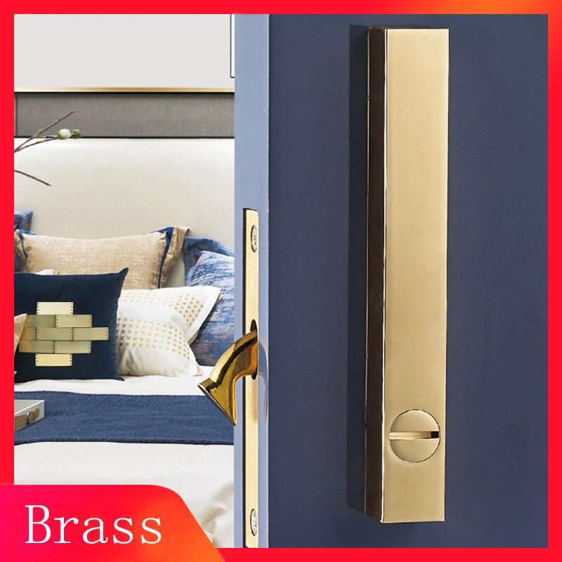 LOFT Nordic Style Square brass sliding door lock with handle for Interior Door Pull Lock Room