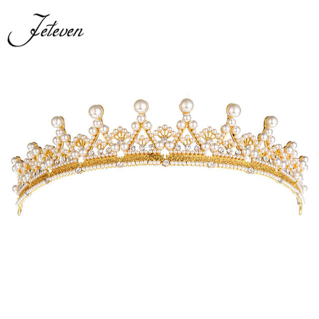European Designer Vintage Wedding Tiara Crown Gold Pearls Crystal