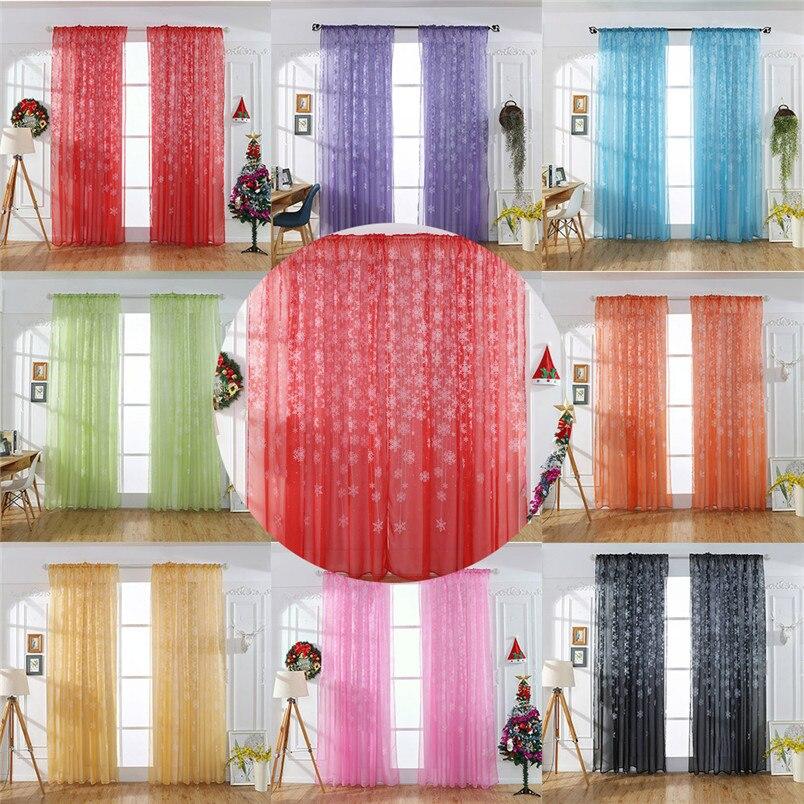 1PCS Christmas Snowflake Curtain Tulle Window Treatment Voile Drape Valance New Year Decorations Home Decor #3n16#f window valance