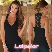 Sexy Women Summer Lace Vest Top Sleeveless Backless Casual Tanks Tees T-Shirt Tops Hot Laipelar